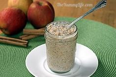 Apple Cinnamon Refrigerator Oatmeal ~~ 1/4 cup uncooked old fashioned rolled oats - 1/3 cup skim milk - 1/4 cup low-fat Greek yogurt - 1-1/2 teaspoons dried chia seeds - 1/2 teaspoon cinnamon - 1 teaspoon honey, optional (or substitute any preferred sweetener) 1/4 cup unsweetened applesauce, or enough to fill jar -- (half pint jar w/lid = 1 cup) -- 210 calories, 4g fat, 48g carbs, 8g fiber, 11g protein; Weight Watchers PtsPlus: 7