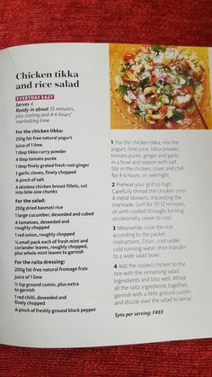 Healthy Eating To Lose Weight Recipes Meals Slimming World 53 Super Ideas Slimming World Chicken Tikka, Slimming World Salads, Slimming World Lunch Ideas, Slimming World Chicken Recipes, Slimming World Recipes, Healthy Eating Recipes, Healthy Chicken Recipes, Healthy Food, Rice Salad