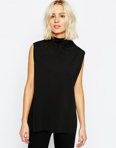 Weekday Clean Edge High Neck Sleeveless Top