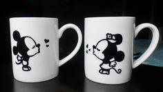 Mickey and Minnie mouse coffee mugs (set of 2) These mugs are hand drawn by me. These would make the perfect gift for the Disney lovers in your life. To preserve the life of the mugs, please handle with care and HAND WASH ONLY.