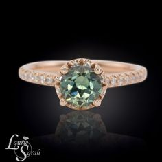Rose Gold Blue Green Sapphire Engagement by LaurieSarahDesigns, $2767.50