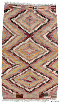 K0010735 Vintage Afyon Kilim Rug | Kilim Rugs, Overdyed Vintage Rugs, Hand-made Turkish Rugs, Patchwork Carpets by Kilim.com