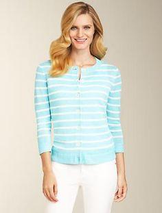 Talbots - Linen Stripe Cardigan | Sweaters | Misses
