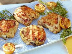Lemon and Herb Marinated Grilled Chicken Thighs Recipe : Anne Burrell : Food Network