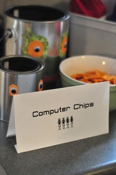 robot birthday party food--- I'm thinking BOT's ROBO-chips??