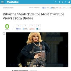 http://mashable.com/2013/06/18/rihanna-justin-bieber-youtube-views/ Rihanna Steals Title for Most YouTube Views From Bieber | #Indiegogo #fundraising http://igg.me/at/tn5/
