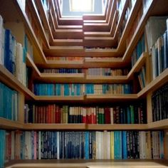 Library Staircase Doubles As Shelving Space For Books  http://www.psfk.com/2012/08/bookshelf-staircase.html/book-staircase3#
