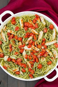 Pesto+Spaghetti+with+Roasted+Tomatoes+and+Grilled+Chicken
