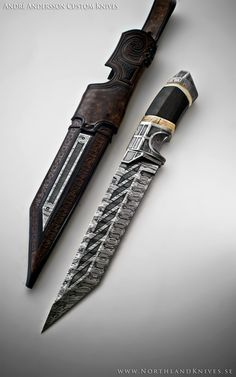 André Andersson Custom Damascus Knives - Knives, Daggers, Swords and Artknives from Sweden / Weapon Damascus Knife, Damascus Steel, Swords And Daggers, Knives And Swords, Katana, Ps Wallpaper, Lame Damas, Armadura Cosplay, Dagger Knife