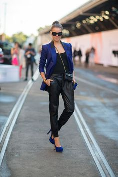 Street Style: Australia Fashion Week Spring 2013 black and blue