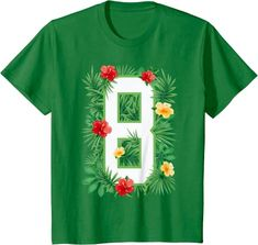 Amazon.com: Floral Number 8 Flower Eight Gardener Summer Flowers T-Shirt: Clothing
