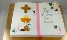Tauftorte Mädchen Konditorei Vorarlberg Renates Torten Design Christening Cake Girls, Bible Cake, First Communion Cakes, Christmas Party Invitations, Girl Cakes, Confectionery, Christmas Fun, Fondant, Eat
