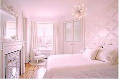 light pink & white keeps room looking big and bright