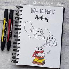 Easy Doodles Drawings, Easy Doodle Art, Cute Easy Drawings, Simple Doodles, Art Drawings, Harry Potter Journal, Harry Potter Art, Harry Potter Drawings Easy, Desenhos Harry Potter