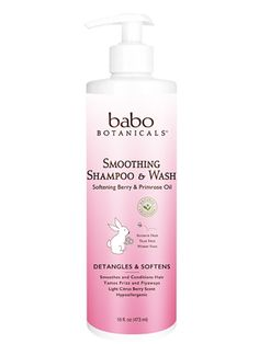 Babo Botanicals Berry Primrose Smooth Detangling Shampoo smoothes and detangles tangled, unruly and very curly hair to make it more manageable and smooth.  The shampoo is gentle and safe, made with certified organic ingredients, and is phthalate-free, tear-free, sulfate-free, worry-free.