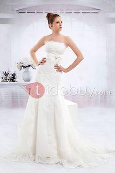 トランペット/マーメイドストラップレス  ロング丈チャペル ウェディングドレス