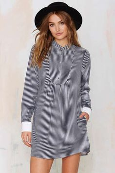 Nasty Gal To the Queen Pinstripe Shirt Dress - Sale