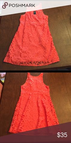 "Sleeveless Hollister Flower Dress - Coral Beautiful Hollister dress - too short for me so never worn - 34"" from the top of the shoulder strap to the bottom Hollister Dresses Mini"