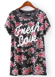 Black Short Sleeve Floral Letters Print T-Shirt - Sheinside.com