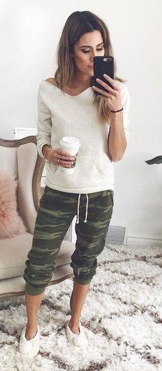 Simple Ootd Top Plus Khaki Pants Plus Sneakers