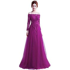 df7aa9838b7fc Onlybridal Women's Long Sleeve Lace Up Tulle Appliques Prom Dresses Long  Sleeve