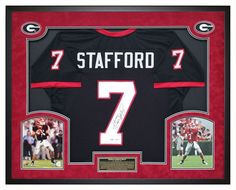Matthew Stafford Autographed GA Bulldogs Black Jersey - Custom Shadow Box - PSA. Will make an incredible statement in any Office, Fan Room, Man Cave or DAWG House! #MatthewStafford #GeorgiaBulldogs #UGA #ManCave #ShadowBox #GiftsForHim #BlackOut #GeorgiaHandmade #GeorgiaFootball #BulldogsDecor #SportsBarDecor