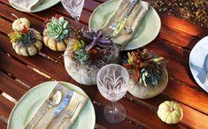 calabazas con plantas dentro ideas para decorar la mesa en otoño