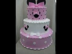 Bolo fake Minnie Mouse para festa infantil - YouTube