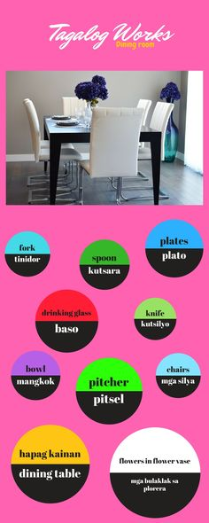 Dining room in Tagalog Tagalog Words, Sight Words Printables, Pinoy, Filipino, Languages, Pride, Dining Room, Asian, House