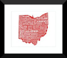 Ohio map print.  Would be cool to hang in home office.
