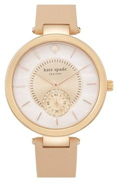 kate spade new york 'perry' crystal accent leather strap watch, 38mm available at #Nordstrom
