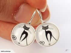 Cat Silhouette on White - Dome Earrings | Trade Me
