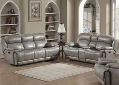Estella Collection Contemporary Upholstered Leather Living Room Set w/ a Recliner Chair, Sofa & Loveseat w/ Storage Console & Cup Holders, Gray - AC Pacific Living Room Sofa Set, Sofa And Loveseat Set, Leather Living Room Set, Living Room Sets, Love Seat, Contemporary Sofa, 3 Piece Living Room Set, Sofa Set, Living Room Leather