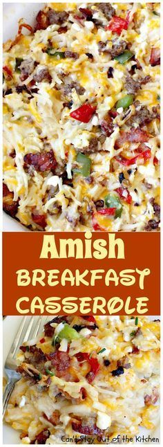 Amish Breakfast Casserole ~ Tastiest and most delightful! Uses 2 meats and 3 cheeses! Great for holiday breakfasts. Breakfast And Brunch, Breakfast Items, Breakfast Dishes, Breakfast Recipes, Breakfast Potatoes, Morning Breakfast, Breakfast Crockpot, Breakfast Meat, Breakfast Healthy