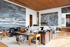 Mountain living room filled with Anselm Kiefer paintings in home designed by Peter Marino Architect [OS] x Roger Davies Architectural Digest Best Interior, Home Interior, Interior And Exterior, Modern Interior, Interior Styling, Interior Decorating, Design Salon, Home Design, Living Room Inspiration