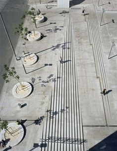 Landscape architecture urban stairs ramp: