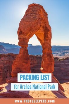 This packing list has you covered for visiting Arches in spring, summer, fall or winter! Rest assured that you'll have the travel gear, hiking gear and photo gear for your Arches National Park vacation. Packing List For Travel, Vacation Packing, Packing Tips, Travel Tips, Travel Ideas, Travel Destinations, St George Utah, Enjoy Your Vacation, Pop Culture Halloween Costume