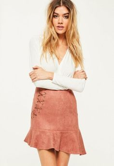 Pink Faux Suede Frill Hem Eyelet Detail Mini Skirt | #Chic Only #Glamour Always