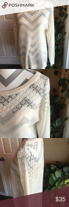Loft lightweight sweater Never worn!  Beautiful off white sweater. LOFT Sweaters Crew & Scoop Necks