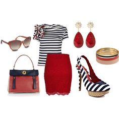 Striped Navy and Red, created by megan-michal-edwards on Polyvore
