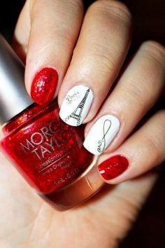 Estilo de uñas parisino en color rojo con blanco