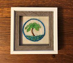 Natural Crafts, Ocean Scenes, Hand Thrown Pottery, Calming Colors, Ocean Waves, Sea Glass, Framed Art, Handmade, Etsy
