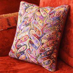 Summer Paisley needlepoint by Raymond Honeyman / Ehrman Tapestry Needlepoint Designs, Needlepoint Pillows, Needlepoint Kits, Art Nouveau Flowers, Tapestry Kits, Cross Stitch Pillow, Cross Stitch Designs, Embroidery Patterns, Crewel Embroidery