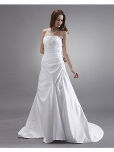 Satin Strapless Sweep Train A-Line Wedding Dress with Beading - WooVow Mini Wedding Dresses, Wedding Dress 2013, Wedding Dress Train, Tea Length Wedding Dress, Gorgeous Wedding Dress, Wedding Dress Styles, Prom Dresses, Dresses 2013, A Line Bridal Gowns