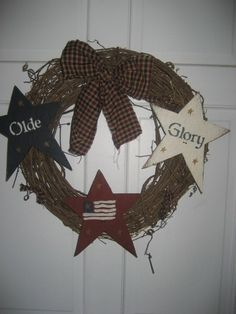 Olde Glory Primitive Star Wreath-primitive wreath, olde glory, stars, american flag, homespun ties, homespun bow, 18 wreath, sanded, stenciled, stained.