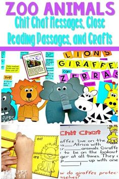 Nonfiction passages about zoo animals. Chit Chat messages, crafts, and more. #chitchat #closereading #zooactivities #zoocrafts