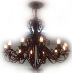 """Made To Order Iron Chandelier """"Duarte"""" Designer iron chandelier for illuminating commercial and residential spaces. Hotel Foyer, Ceiling Lamp, Ceiling Lights, Hacienda Style, Iron Chandeliers, Custom Lighting, Kitchen Lighting, Traditional House, Wall Sconces"""
