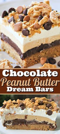 These NO BAKE Chocolate Peanut Butter Dream Bars (aka Lush Desserts) are crushed peanut butter sandwich cookies, topped with chocolate pudding, a fluffy layer of cream cheese and peanut butter, and finished off with Cool Whip.  Previously a BAKED recipe, you can now just pop the cookie crust into the freezer for an easy and super delicious NO BAKE Chocolate Peanut Butter Bar dessert.