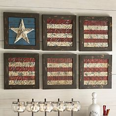 Celebrate your patriotic pride. Metal flag sections are hand-painted and distressed for vintage appeal with our 6 Piece Flag Wall Art from Country Door. Americana Crafts, Patriotic Crafts, July Crafts, Patriotic Decorations, Primitive Crafts, Wood Crafts, Diy And Crafts, Holiday Crafts, Christmas Gifts