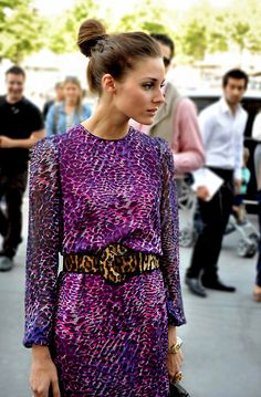 this dress. this color. (pictured: Olivia Palermo) #streetstyle #fashion
